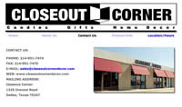the contact page on closeout corner