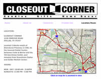 the map page on closeout corner